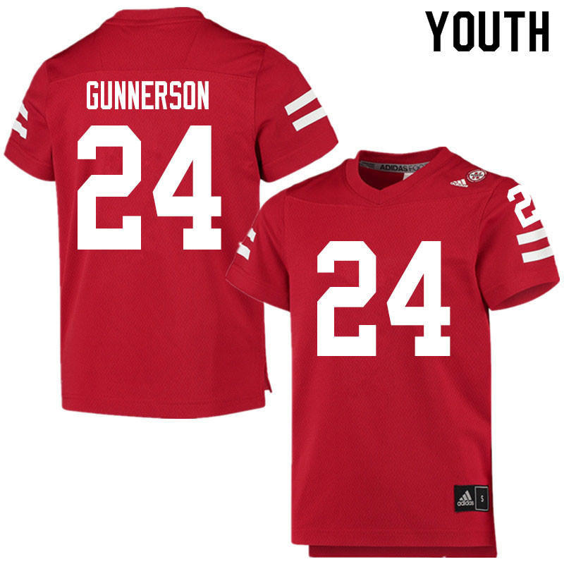 Youth #24 Blaise Gunnerson Nebraska Cornhuskers College Football Jerseys Sale-Scarlet